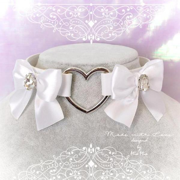 Choker Necklace ,BDSM Daddys Girl White Faux Leather Heart White Bow Rhinestone, Kitten Play Collar, pastel goth Lolita, Fairy Kei,DDLG