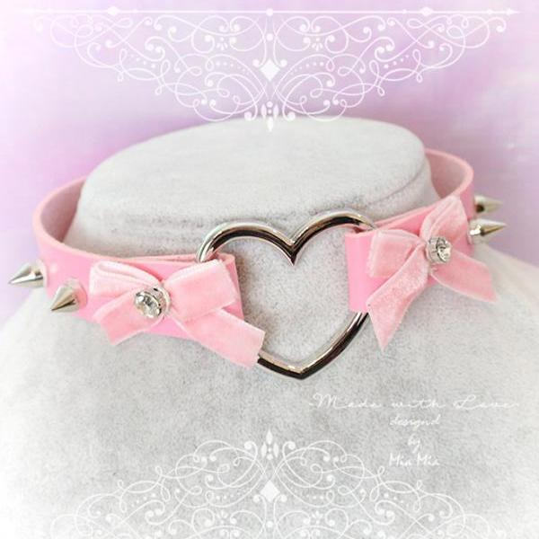 Choker Necklace ,Pink Faux Leather Heart Pink Velvet Bow Rhinestone Spikes , Kitten Play Collar, BDSM Daddys Girl , pastel goth, DDLG