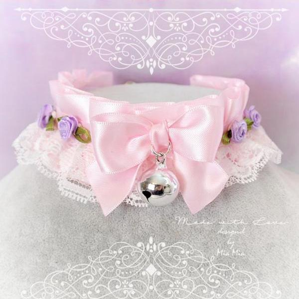 Choker Necklace ,Kitten Pet Play Collar DDLG Baby pink White Lace Bow Bell Purple Rose ,Daddys Girl Jewelry ,pastel Lolita ,Fairy Kei, BDSM