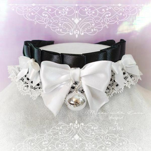 Choker Necklace ,Kitten Play Collar, DDLG Black White Lace Ruffles Little Bow Bell,Daddys Girl Jewelry ,Maiden Lolita ,Rule Play,Gothic