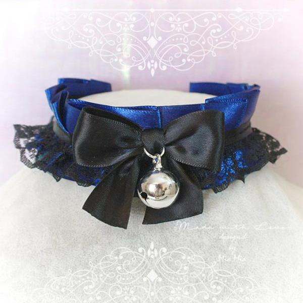 Choker Necklace ,Kitten Play Collar, DDLG Navy Blue Black Lace Bow Bell,Daddys Girl Jewelry ,Maiden Lolita ,Fairy Kei, Rule Play, Goth