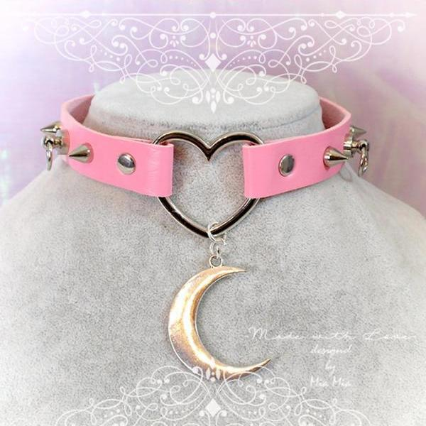 BDSM Daddys Girl Choker Necklace Pink Faux Leather Heart Spikes O Ring Crescent Moon ,Kitten Play Collar pastel goth Lolita DDLG
