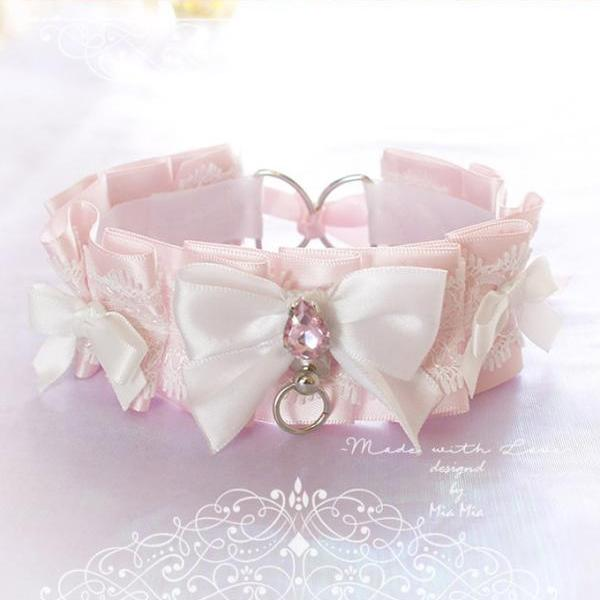 Choker Necklace ,Kitten Play Collar , BDSM DDLG Powder Pink White Lace Bow O Ring Rhinestone Daddys Girl Kawaii pastel goth Fairy Kei