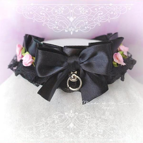 Choker Necklace ,Kitten Play Collar , All Black Satin Lace Bow O Ring Pink Rose , Lolita Gothic, BDSM DDLG Daddys Girl Fairy Kei Jewelry