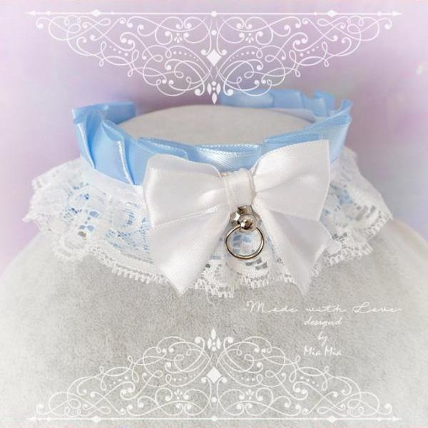 Kitten Pet Play Collar DDLG Choker Necklace Baby Blue White Lace Bow O Ring ,Daddys Girl Jewelry ,pastel Lolita ,Fairy Kei, BDSM