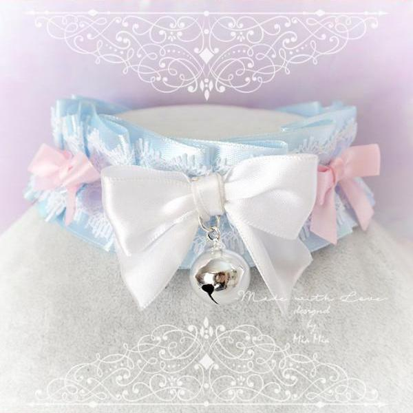 Choker Necklace ,Kitten Play Collar , BDSM DDLG Baby Blue White Lace Ruffles Bell Pink Little Bow, Jewelry Daddys Girl Kawaii pastel Lolita