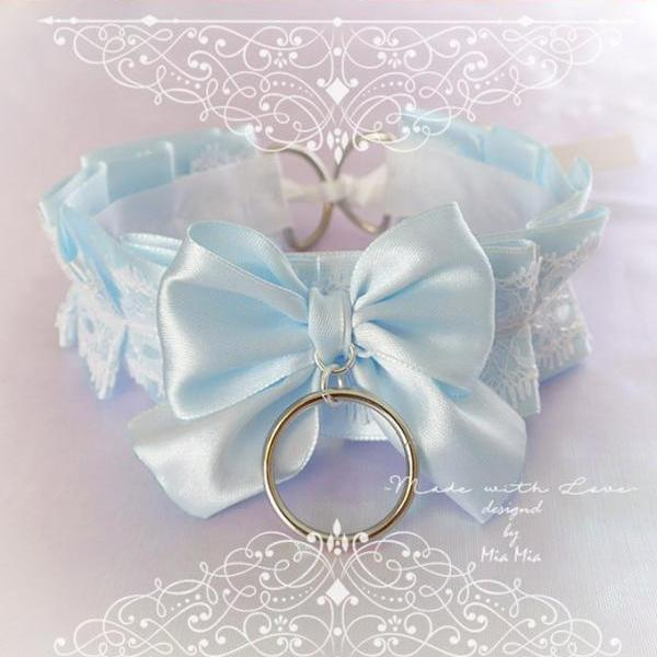 Choker Necklace ,Kitten Play Collar , BDSM DDLG Baby Blue White Lace Ruffles Bow O Ring, Jewelry Daddys Girl Kawaii pastel goth Fairy Kei