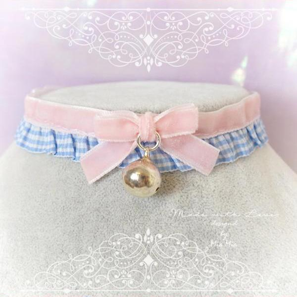 Choker Necklace , Kitten Play Collar ,Daddys Girl Baby Pink Velvet Blue Tartan Plaid Bow Bell , Jewelry pastel goth Lolita DDLG Adult Baby