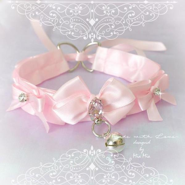 Choker Necklace ,Kitten Pet Play Collar Costume ,Baby Pink Satin O Ring Bell Bow Rhinestone Jewelry pastel goth Lolita Neko BDSM DDLG