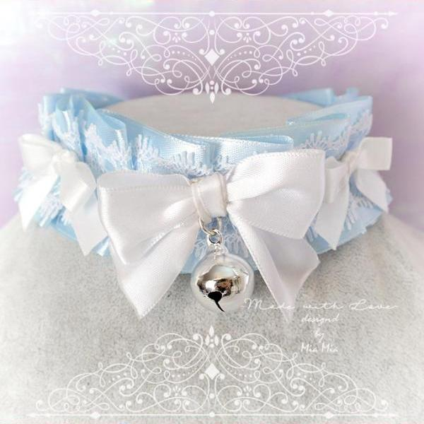 Choker Necklace ,Kitten Play Collar , BDSM DDLG Baby Blue White Lace Ruffles Bell Little Bow, Jewelry Daddys Girl Kawaii pastel Lolita