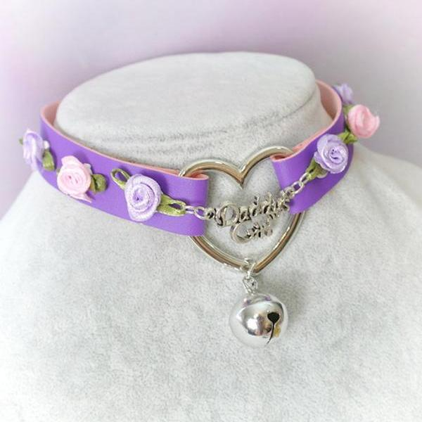 BDSM Daddys Girl Choker Necklace Collar Purple Faux Leather Heart Bell Pink Lilac Rose Kitten Play Collar pastel goth Lolita Neko Cat DDLG