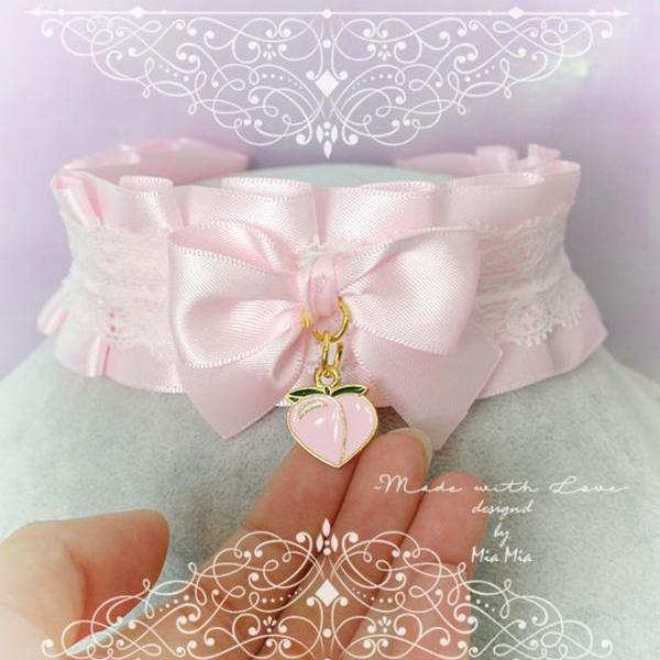 Sweet Pink Peach Choker Necklace ,Kitten Pet Play Collar , BDSM DDLG Pink Satin White Lace Ruffles Bow Daddys Girl Kawaii pastel Fairy Kei