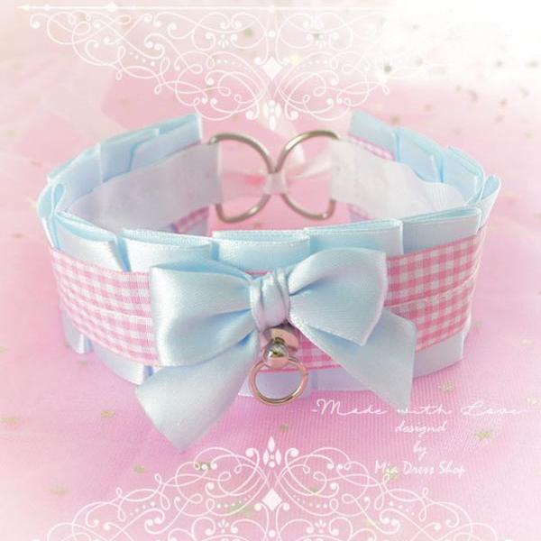 Choker Necklace, Kitten Pet Play Collar, DDLG Baby Blue Pink Tartan Plaid Bow O Ring Tug Proof, Jewelry pastel Daddys Girl BDSM Fairy Kei