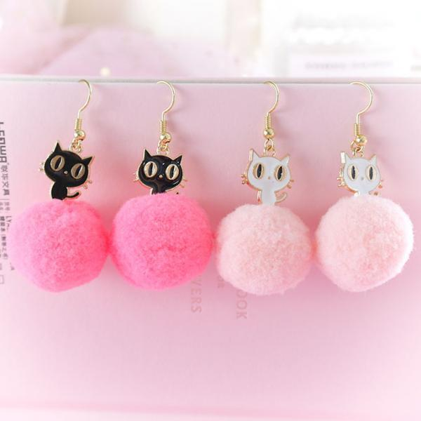 Sweetheart Little Black White Cat Kitty Pom Pom Pink Ball Dangle Earrings ,Lolita Cute Kawaii Sweet DDLG Daddys Baby Girl Fairy Kei Jewelry
