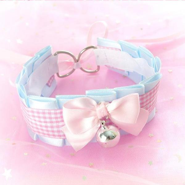 Choker Necklace, Kitten Pet Play Collar, DDLG Baby Blue Pink Tartan Plaid Bow Cutie , Jewelry pastel Daddys Girl BDSM Fairy Kei Adult Baby