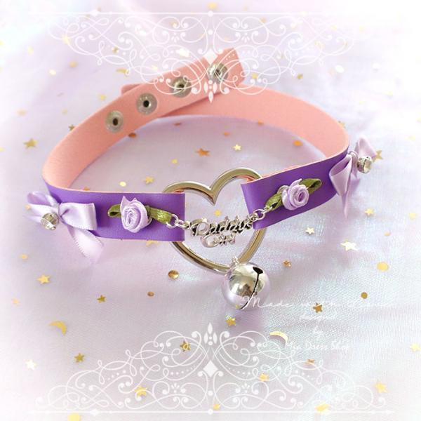BDSM Daddys Girl Choker Necklace Collar Purple Faux Leather Heart Bell Lilac Rose Bow Rhinestone Kitten Play Collar pastel goth Lolita DDLG