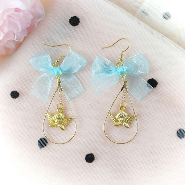 Rococo Little Cupid Valentine Angel Aque Blue Bow ,Dangle Earrings ,Clip On No Pierce Earrings, Lolita Cute Kawaii Sweet Baby Girl Jewelry