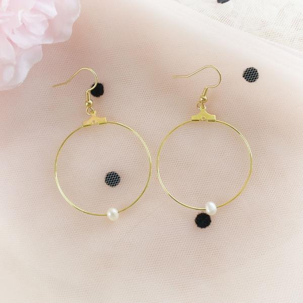 Fresh Water Pearl Gold Hoop Dangle Earrings ,Clip On No Pierce Earrings, Lolita Cute Kawaii Sweet Elegance Jewelry, Bridesmaid Gift