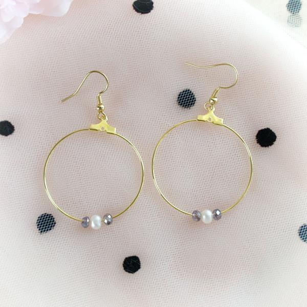 Fresh Water Pearl Purple Swarovski Crystal Hoop Dangle Earrings ,Clip On No Pierce Earrings, Simple Sweet Elegance Jewelry, Bridesmaid Gift