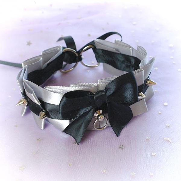 Choker Necklace ,Kitten Pet Play Collar , Gray Silver Satin Black Bow O Ring Spikes Lolita Neko BDSM DDLG Daddys Girl Fairy Kei Jewelry