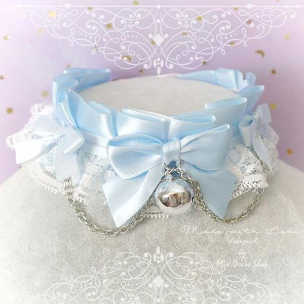 Choker Necklace ,Kitten Pet Play Collar, DDLG Baby Blue White Lace Bow Bell Chain ,Daddys Girl Jewelry ,pastel Lolita ,Fairy Kei, BDSM