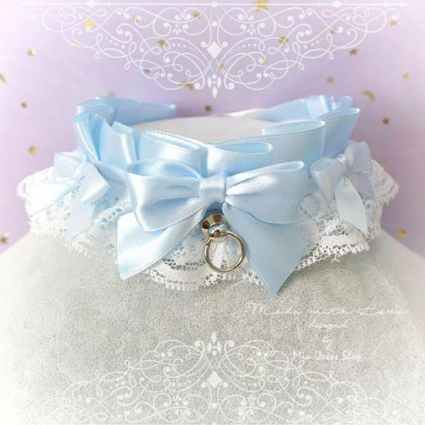 Choker Necklace ,Kitten Pet Play Collar, DDLG Baby Blue White Lace Little Bow O Ring Tug Proof ,Daddys Girl Jewelry ,pastel Lolita ,BDSM
