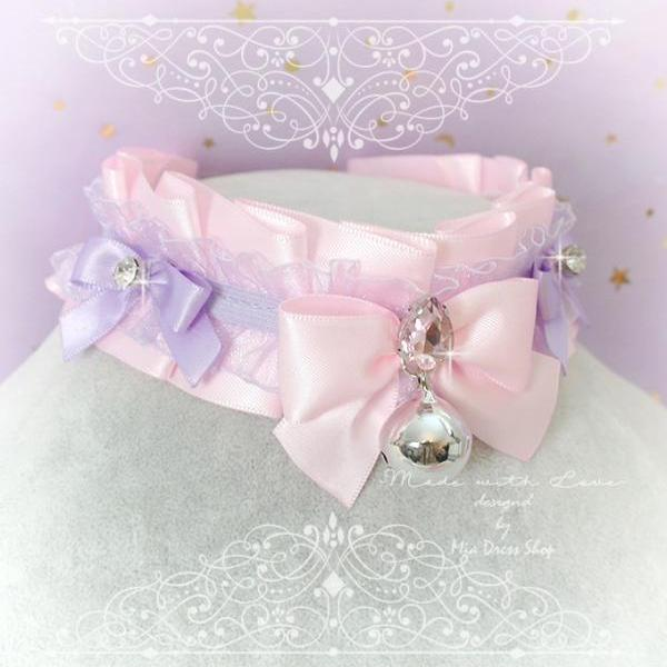 Choker Necklace, Kitten Pet Play Costume Collar, Daddys Girl Baby Pink Purple Lace Bow Bling Rhinestone, Jewelry pastel Lolita BDSM DDLG