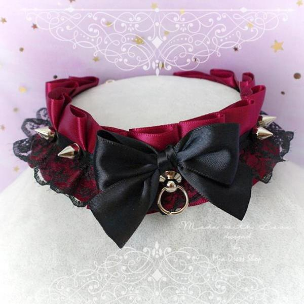 Choker Necklace, Kitten Play Collar ,DDLG Burgandy Red Black Lace Ruffles Bow Tug Proof , Spikes kitty Jewelry punk Rock Nu goth Lolita