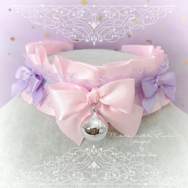 Kitten Pet Play Collar DDLG Choker Necklace Baby pink Purple Lace Little Bow Bell Jewelry pastel Lolita Daddys Girl BDSM Fairy Kei