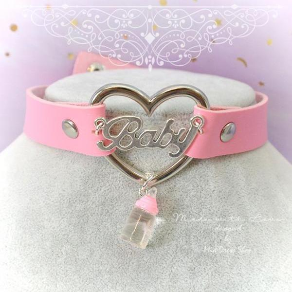 BABY GIRL Choker Necklace Collar Pink Faux Leather Heart Milk Bottle , Adult Baby , Kitten Play Collar pastel goth Lolita DDLG