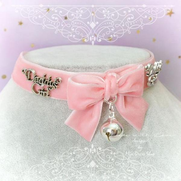 Choker Necklace ,Kitten Play Collar Daddys Girl Pink Velvet Bow Bell, pastel goth Lolita Kawaii Cute Jewelry DDLG Adult Baby