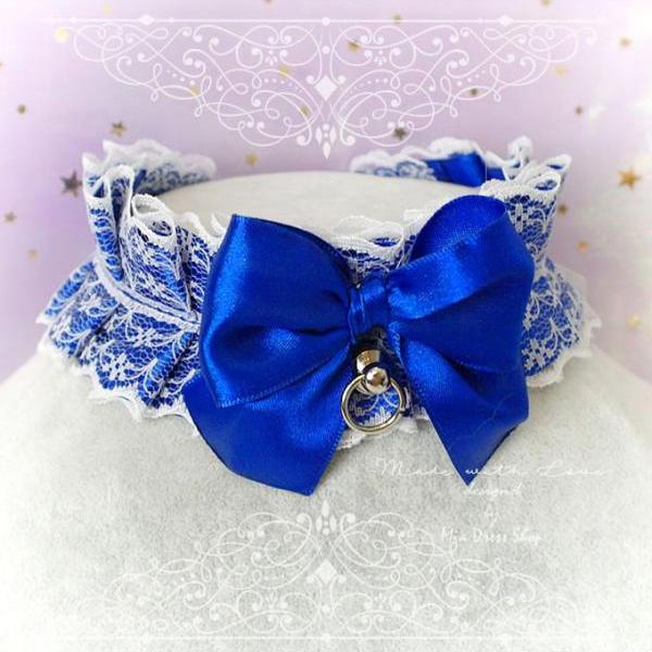 Choker Necklace ,Kitten Play Collar, DDLG Royal Blue White Lace Ruffles Bow O Ring Tug Proof ,Daddys Girl Jewelry ,Maiden Lolita ,Rule Play