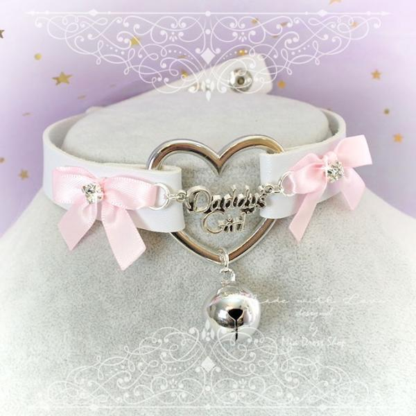 Choker Necklace ,BDSM Daddys Girl White Faux Leather Heart Pink Bow Rhinestone Bell, Kitten Play Collar, pastel goth Lolita, Fairy Kei,DDLG