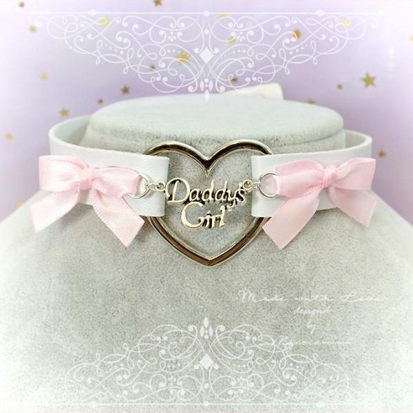 Choker Necklace , Daddys Girl White Faux Leather Heart Pink Bow , Kitten Play Collar pastel goth Lolita DDLG BDSM DDLG Cute