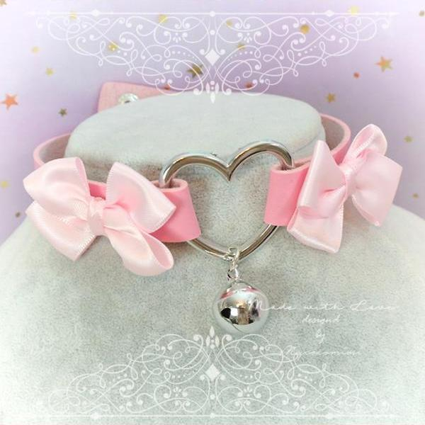 Choker Necklace ,Kitten Play Collar , Pink Faux Leather Heart Bell Baby Pink Bow , BDSM DDLG Kitty play Lolita choker Daddys Girl