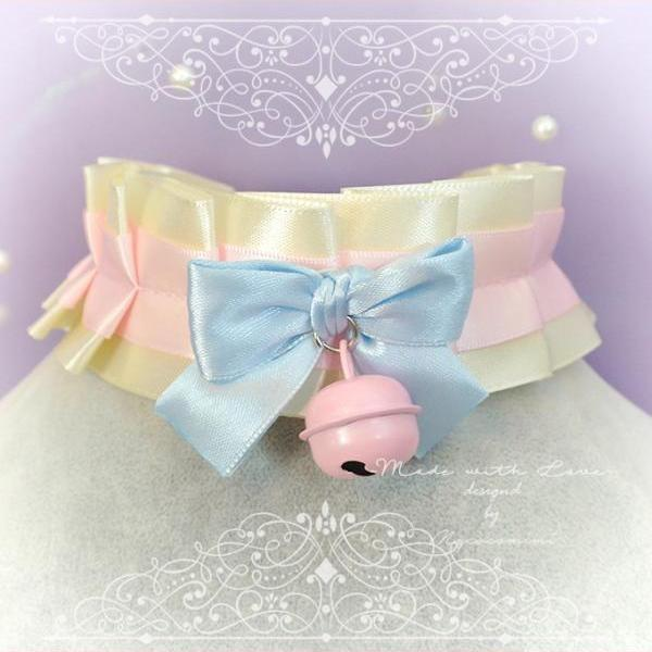 Choker Necklace, Kitten Pet Play Day Collar ,DDLG Beige Baby Pink Satin Blue Bow Bell , Paster Goth Adult Baby Jewelry Daddys Girl Kawaii