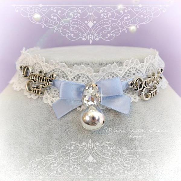 Choker Necklace,Kitten Play Collar ,Baby Blue Lace Bow Bell Rhinestone Daddys Girl ,pastel goth Lolita Neko Cute DDLG Daddys Baby Girl