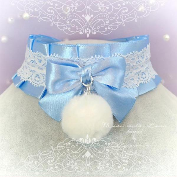 WINTER Choker Necklace ,Kitten Pet Rule Play Collar ,DDLG Light Blue White Lace Bow Faux Fur Ball, Daddys Girl Kawaii pastel goth BDSM