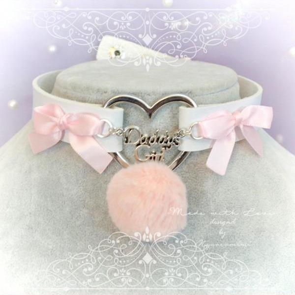 Winter Choker Necklace , Daddys Girl White Faux Leather Heart Pink Bow Faux Fur Ball , Kitten Play Collar pastel goth Lolita DDLG BDSM Cute