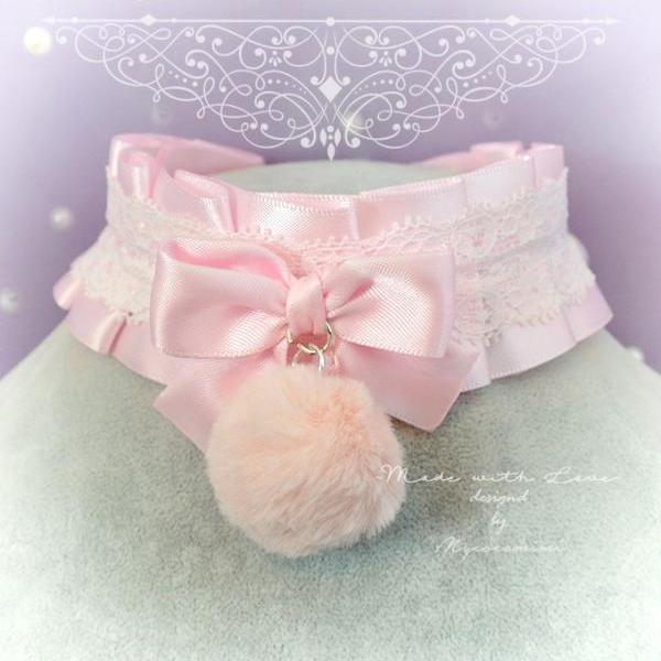 WINTER Choker Necklace, Kitten Pet Play Collar ,DDLG Pink White Lace Ruffles Faux Fur ball Rabbit Tail , Daddys Girl Kawaii pastel goth BDSM