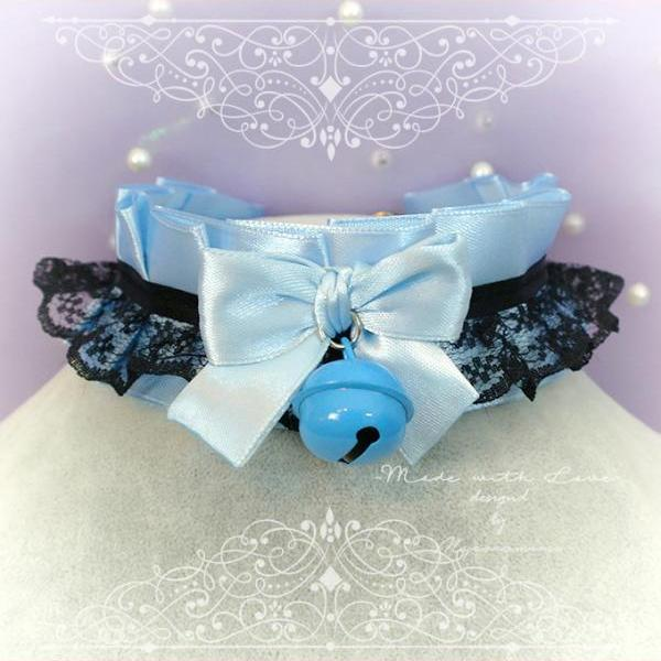 Choker Necklace ,Kitten Play Collar , BDSM DDLG Baby Blue Satin Black Lace Bow Bell , Jewelry Daddys Girl, Adult Baby
