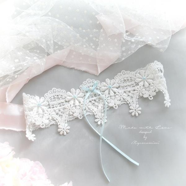 Luxury White Lace Pearl Something Light Blue Pearl Bow Garter , Bridal Lingerie Wedding Honeymoon Keepsake Toss Luxury Wedding garter