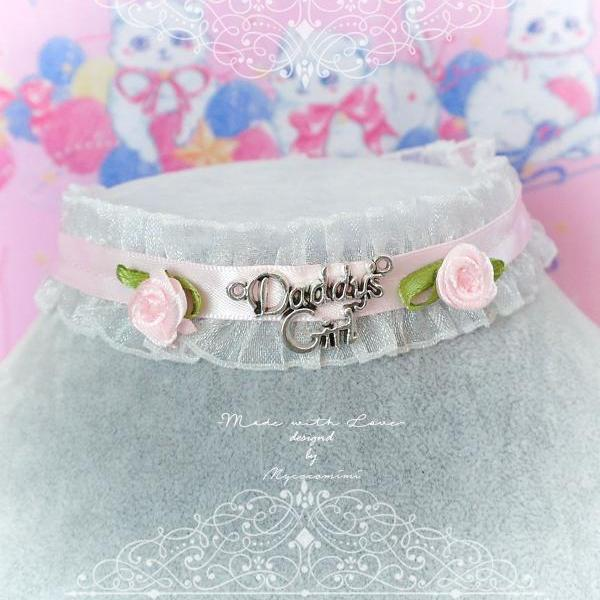 Choker Necklace, White Ruffles Lace Daddys Girl Baby Pink Rose Flower ,neck collar pastel cute Romantic Fashion Everyday jewelry