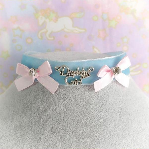 Velvet Choker Necklace, Daddys Girl Blue Velvet Pink Bow Bling Rhinestone ,pastel Lolita DDLG Cute Kawaii Jewelry, Kitten Play Day Collar
