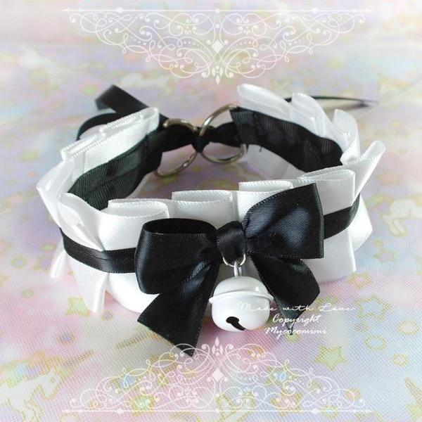 Choker Necklace ,Kitten Play Collar , BDSM DDLG White Black Satin Bow Cute White Bell , Daddys Girl Kawaii pastel goth Equipment