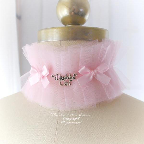 Lingerie Collar , Kitten Play Collar Costume , Choker Necklace Baby Pink Soft Tulle Lace Daddys Girl Bow, Jewelry Lolita DDLG Lingerie