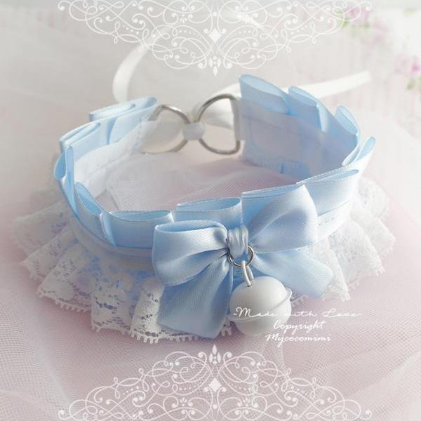 Choker Necklace ,Princess Kitten Play Collar Baby Blue White Lace Bow Bell ,Daddys Girl DDLG Jewelry pastel Lolita ,Fairy Kei BDSM