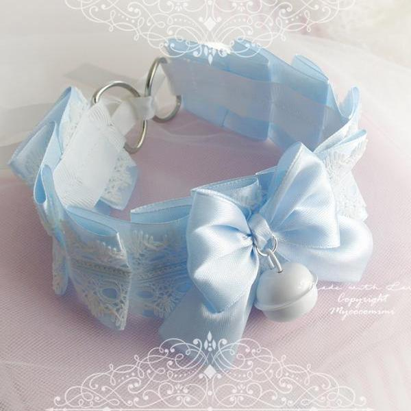 Choker Necklace ,Kitten Play Collar , Baby Blue White Lace Bow Bell , Lolita Gothic, BDSM DDLG Daddys Girl Fairy Kei Jewelry