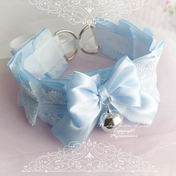 Choker Necklace ,Kitten Play Collar , BDSM DDLG Baby Blue White Lace Ruffles Bow Bell, Jewelry Daddys Girl Kawaii pastel goth Fairy Kei