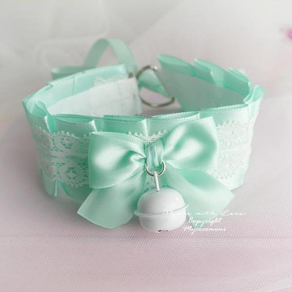 Choker Necklace ,Kitten Play Collar ,Seafoam Mint Green White Lace Bow White Bell, Adult Baby Jewelry pastel Lolita DDLG Daddys Girl